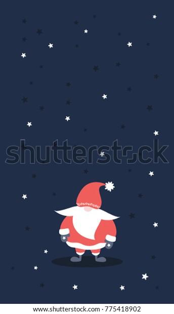 Christmas Phone Wallpaper Cute Santa Claus Stock Vector