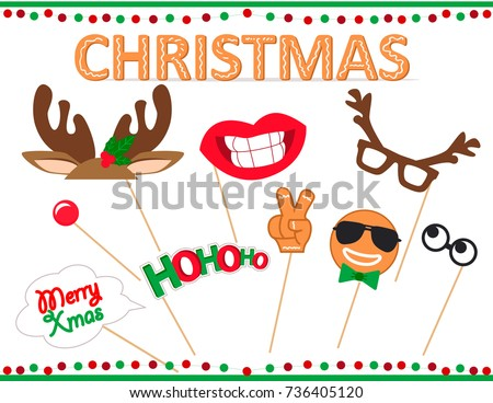 christmas photo booth props printable set