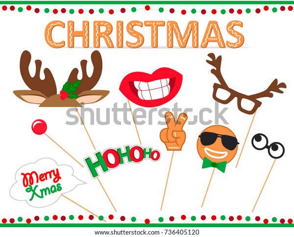 photo regarding Christmas Photo Booth Props Printable identify Xmas Image Booth Props Printable Established Inventory Vector