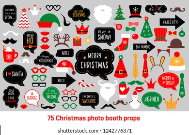 Christmas photo booth props. Vector photobooth set: Santa and elf hat, beard, deer, snowman, candy, mustache, lips. Red and green cards and speech bubble with funny quotes for christmas.