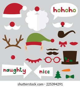 Christmas photo booth and scrapbooking vector set (Santa, deer, elf, snowman, naughty and nice signs)