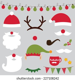 Christmas photo booth and scrapbooking vector set (Santa, deer, elf)