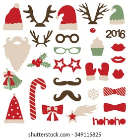 Christmas photo booth and scrapbooking vector set (Santa and deer)