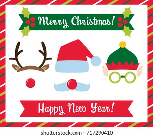 Christmas photo booth vector collection (Santa, elf  and deer)