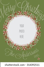 Christmas Photo Card Template with Abstract Wreath - Vector