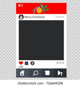 Christmas photo frame in the form of a window of social media mobile applications. Decorative design element for photography at parties and celebrations. Vector illustration isolated on background.