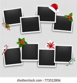 Christmas Photo Frame Set With Gradient Mesh, Vector Illustration