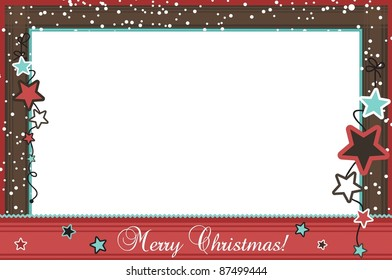 Christmas photo frame with stars, vector