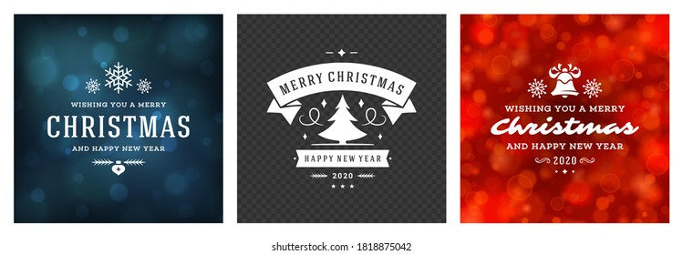 Christmas photo overlays vintage typographic design, ornate decorations symbols with winter holidays wishes, floral ornaments and flourish frames. Vector illustration.