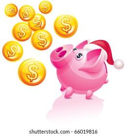 Christmas piggy bank for money rain