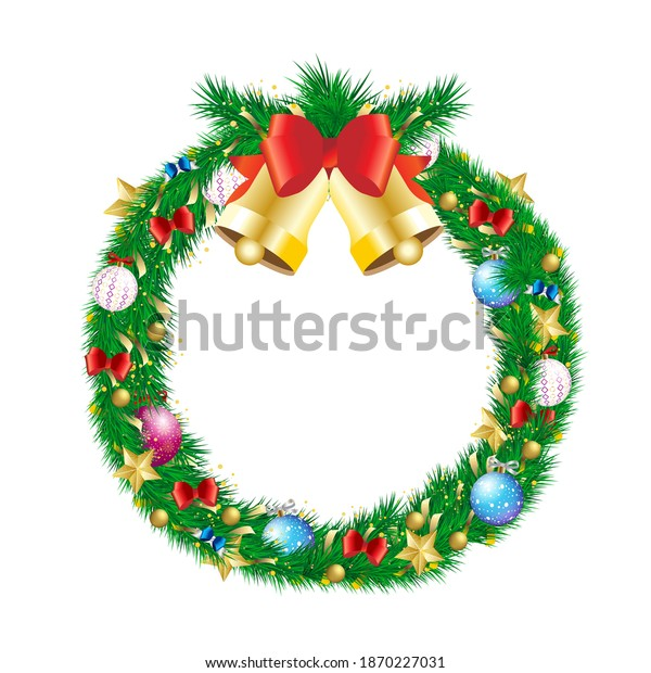 Christmas pine branch wreath with jingle bell and decoration. Winter holiday chaplet with gold star, ball bauble, bow and tinsel naturalistic looking vector illustration isolated on white background