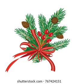 Christmas Pine Branches with Red Ribbon and Pine Cone. Mistletoe berries and leaves. Vector illustration