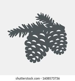 Christmas pine Pinecone tree quality vector illustration cut