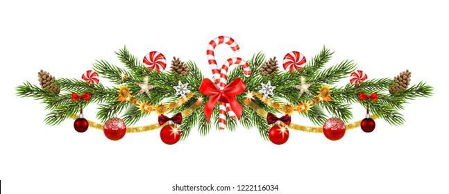 Christmas pine and ribbon