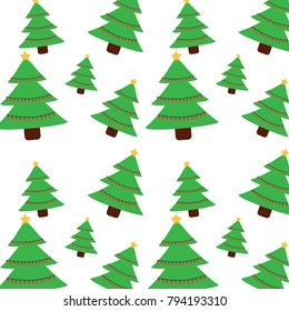 christmas pine tree star lights decoration seamless pattern