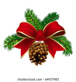 Christmas Pine Twigs with Red Ribbon and Pine Cone. Vector Illustration