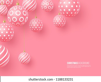 Christmas pink baubles with geometric pattern. 3d realistic style, abstract holiday background. Vector illustration.