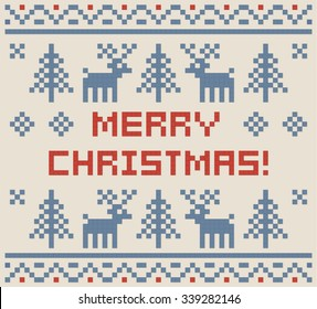 Christmas pixel art winter pattern print for greeting card, jersey or t-shirt. Pixel deers and christmas trees. Vector illustration.