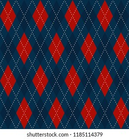 Christmas plaid argyle pattern. Blue red dimond motif. Diagonal stripes checkered ornament with golden stitches. Home holiday decoration, interior textile, fabric cloth, invitation cards background.