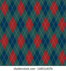Christmas plaid argyle pattern. Retro green red dimond motif. Diagonal stripes checkered print block for gift wrapping, home holiday decoration, interior textile, fabric,  invitation cards background.