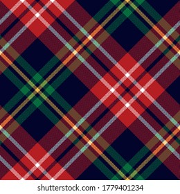 Christmas plaid pattern in red, green, yellow, blue, white. Seamless herringbone tartan check plaid for flannel shirt, blanket, throw, duvet cover, tablecloth, or other New Year textile print.