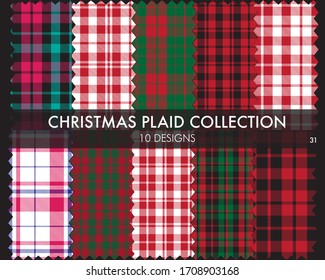 Christmas Plaid, tartan seamless pattern collection includes 10 designs suitable for fashion textiles and graphics