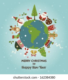 Christmas planet card. Merry Christmas and Happy new year!