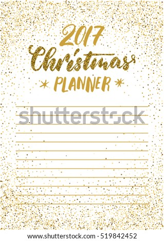 christmas planner template for 2017 new year cards scrapbooking invites white golden glitter