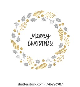 Christmas plants laurel greeting card. Silver and gold glitter illustration. Vector hand drawn objects
