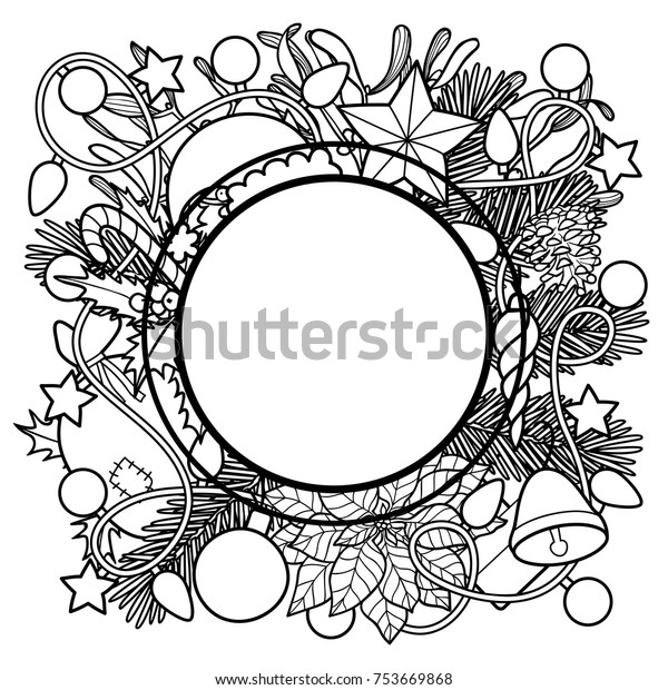 christmas plants objects frame nature round stock vector royalty free 753669868 shutterstock