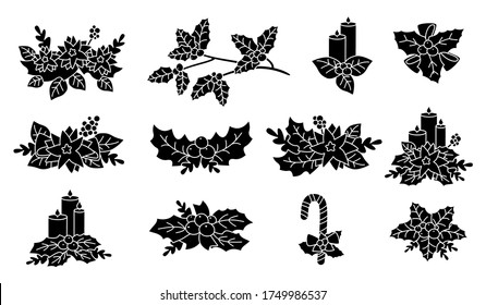 Christmas poinsettia, holly, candle silhouette set. Black glyph flat cartoon design. New year and christmas composition. Berries and candy, flower collection, with stars. Isolated vector illustration