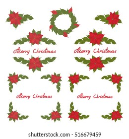 Christmas poinsettia tree design elements, vector clip-art.