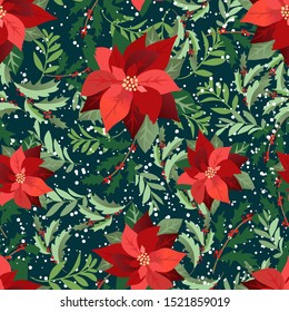 Christmas poinsettias with dark teal background pattern. Leaves, holly, flowers ditsy. Perfect for winter, Christmas, holidays, fabric, textile. Seamless repeat swatch.