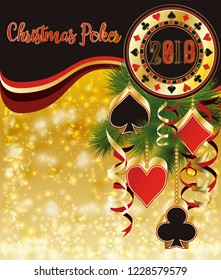 Christmas poker background, New 2019 year. vector illustration