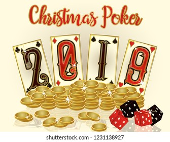 Christmas Poker banner with golden coins, New 2019 year. vector illustration