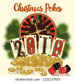 Christmas Poker card with golden coins, New 2019 year. vector illustration