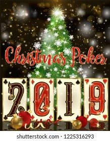 Christmas Poker greeting cards, New 2019 Year wallpaper, vector illustration