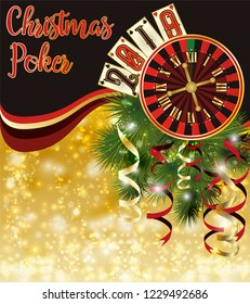 Christmas Poker invitation card. New 2019 year vector illustration