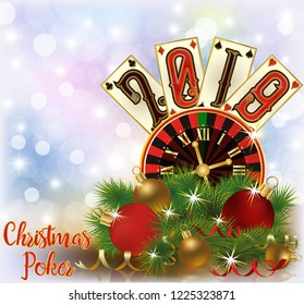 Christmas Poker, New 2019 Year invitation card, vector illustration