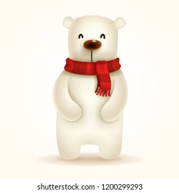 Christmas Polar Bear with Red Scarf.