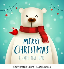 Christmas Polar Bear with Red Scarf. Christmas cute animal cartoon character.