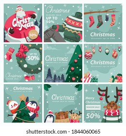Christmas Post Feed For Social Media With Cartoon Style and Illustration