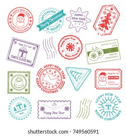 Christmas post mail stamp Santa address vector New Year icons greeting card