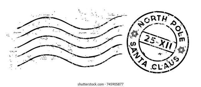 Christmas post rubber stamp isolated on white. Vector