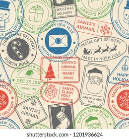 Christmas postal pattern. Santa Claus postmark cachet, winter holiday postage card stamp and north pole mail stamps old vintage paper mail post airmail stamp vector background