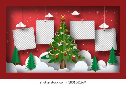 Christmas postcard banner background, Blank photo with Christmas Tree in frame