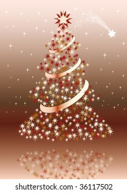 Christmas postcard with brown colors.