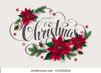 Christmas postcard with Calligraphic Inscription Decorated with red Poinsettia  Flowers and Pine Tree Branches