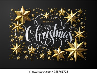 Christmas Postcard with Calligraphic Inscription Decorated with Gold Stars. Chic Christmas Greeting Card.