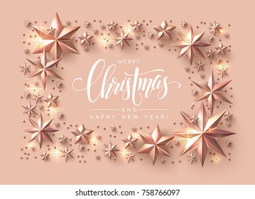 Christmas Postcard with Calligraphic Inscription Decorated with Rose Gold Stars. Chic Christmas Greeting Card.